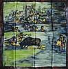 JEANNE LANVIN, Castillo - foulard en soie imprimée, 90 x 90 cm, thème  corrida ,