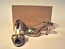 SERGIO ROSSI - escarpins découpés en cuir doré, talon fin de 9 cm, 1 cm de patin
