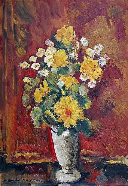 Maurice SAVREUX (1884-1971) Vase de fleurs. Huile sur toile signée en bas à gauc