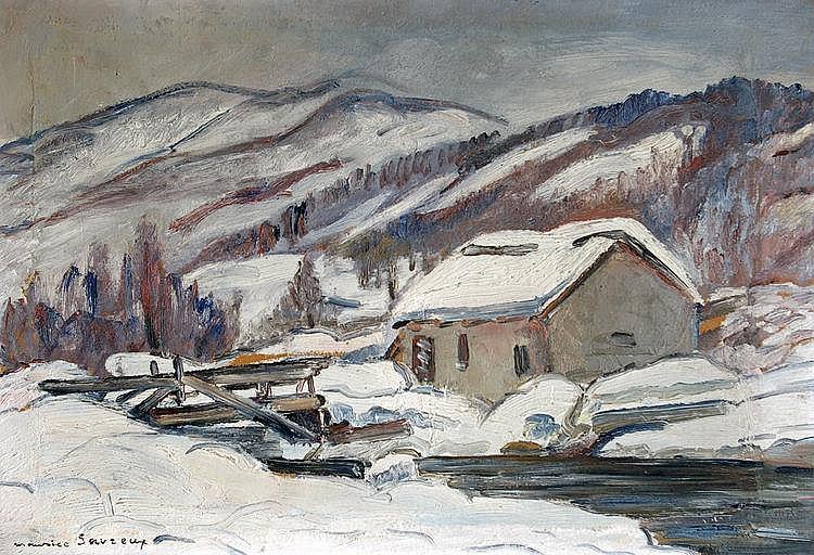 Maurice SAVREUX (1884-1971) Paysage enneigé. Huile sur toile signée en bas à gau