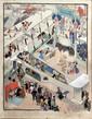 Pierre LISSAC (1878-1955) Le clou du salon de l'aéronautique. Aquarelle et encre