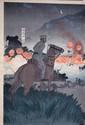 ESTAMPE, soldat devant le champ de bataille. Japon XIXe