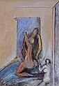 Aristide PATSOGLOU (1941). Danseuses. Huile sur isorel signée en bas à gauche da