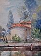SALTA. Le petit pont de bois. Aquarelle signée en bas à gauche. (rousseurs) 32 x