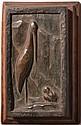 Sébastien TAMARI (1900-1991) Cigogne et grenouille bronze en bas-relief signé en