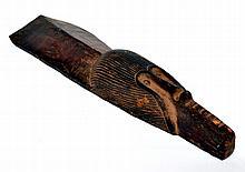 masque planche Zande ou Kumu, Zaïre, bois dur et lourd à patine d'usage, masque