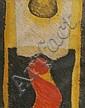Ecole française vers 1960 Le signe de la vie IV, 1967. Dessin aux crayons portan
