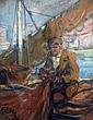 Louis FORTUNEY (1878-1950) Pêcheur et filet. Pastel signé en bas à gauche. 31,5