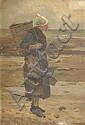 Octave GUENARD (1845-?). La ramasseuse de guémon.  Huile sur toile signée en bas