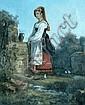 Ecole française vers 1830. Jeune italienne à la fontaine. Huile sur toile. Cadre