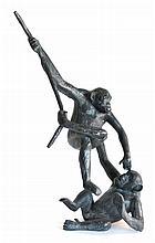 Jorge BORRAS, né en 1956. Complicité. Bronze à patine brun noir signé, fonte Cha