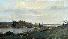 Paul LIOT (1855-1902) Bord de rivière. Huile sur toile signée en bas à droite et