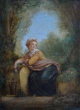 Adolphe J.-Baptiste BAYOT (1810-?). Femme pensive à la fontaine tenant une rose.