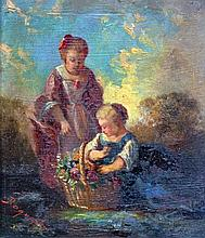 Camille Joseph Etienne ROQUEPLAN (1800/03-1855) Mère et fillette au panier fleur