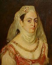 Ecole française XIXe La fiancée juive. Huile sur toile. 55 x 44 cm