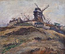 Ernest Marie PERNELLE (1861-1950). Le Moulin de la Galette. Huile sur toile sign