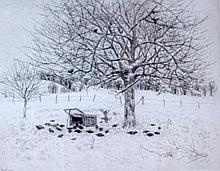 Jean FRÉLAUT (1879-1954) Arbre en campagne. Eau-forte sur papier bleu signée en