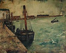 Jean CHAPIN (1896-?) Le Tréport Huile sur panneau signé, désigné  en bas à droit