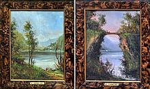 Francesco MANCINI (1829-1905) Promeneurs en bord de lac, et personnages sur un p
