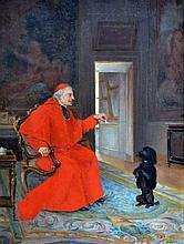 Frédéric GRASSET, XIXe Prélat donnant du sucre à un chien faisant le beau. Huile