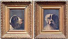 Howard HILL (1840-1890). Deux chiens de chasse. Paire d'huiles sur panneau signé