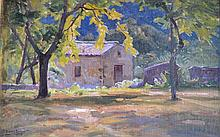 William DIDIER-POUGET (1864-1959) Ferme ombragée. Huile toile signée en bas à ga