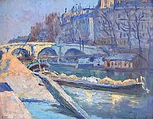 Ernest Marie PERNELLE (1861-1950) Quai à Paris, 1921. Huile sur panneau signée e