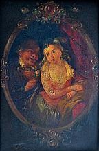 Ignazio MANZONI (1799-1888) (Attr. à) Couple à la rose.Toile. 20 x 13 cm En l'ét