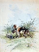 René VALETTE (1874-1956) Deux chiens de chasse devant un piège. Aquarelle signée