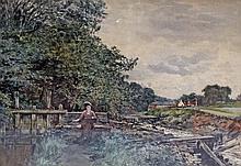 William Ewart LOCKHART (1846-1900) La jeune aquarelliste. Aquarelle signée en ba