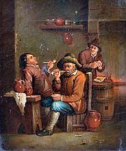 David TENIERS (Dans le goût de). Scène de taverne aux fumeurs. Huile sur toile.