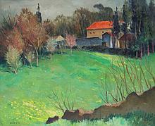 Roger Charles HALBIQUE (1900-1977). Demeure en campagne. Huile sur toile signée