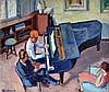 Alexandre FLASCHNER (1903-1995)La leçon de piano. Huile sur toile signée en bas