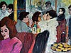 David AZUZ né en 1942. Scène de café. Huile sur toile signée en bas à gauche. 50