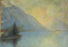 Paul KEUFER, XXe. lac de montage. Huile sur toile signée et datée 44 en bas à ga
