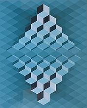 Ecole cinetique vers 1960-70. Composition aux cubes. Pochoir. 52 x 42 cm