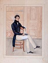 Ecole française vers 1830-40. Jeune élégant assis. Aquarelle. 26,5 x 20 cm