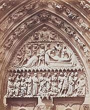 Gustave LE GRAY (1820-1884). Notre-Dame de Paris, tympan du portail Saint-Étienn