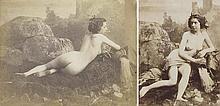 Louis-Camille D'OLIVIER (1827-1870). Nus aux rochers. 1853. 2 épreuves d'époque