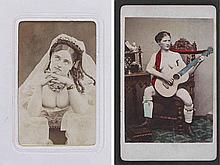 [NU]. Nus, artistes et cartes mosaïque. Vers 1870. 86 tirages sur papier albumin