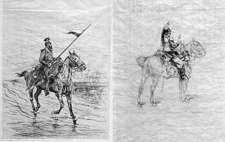 Edouard Jean Baptiste DETAILLE (1848-1912) Lancier et grandier à cheval. Deux po