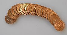 VINGT PIECES de 20 francs or.