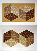 Victor VASARELY (1906 - 1997) Deux cubes. Deux lithographies en couleurs, l'une