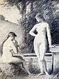 Jean- Jacques HENNER Idylle, vers 1872. Crayon sur papier doublé sur carton. Pap