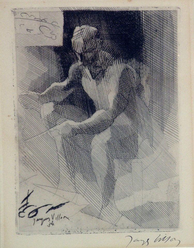 Jacques VILLON (1875-1963) Homme assis, 1934. Eau-forte signée. 19 x 13 cm
