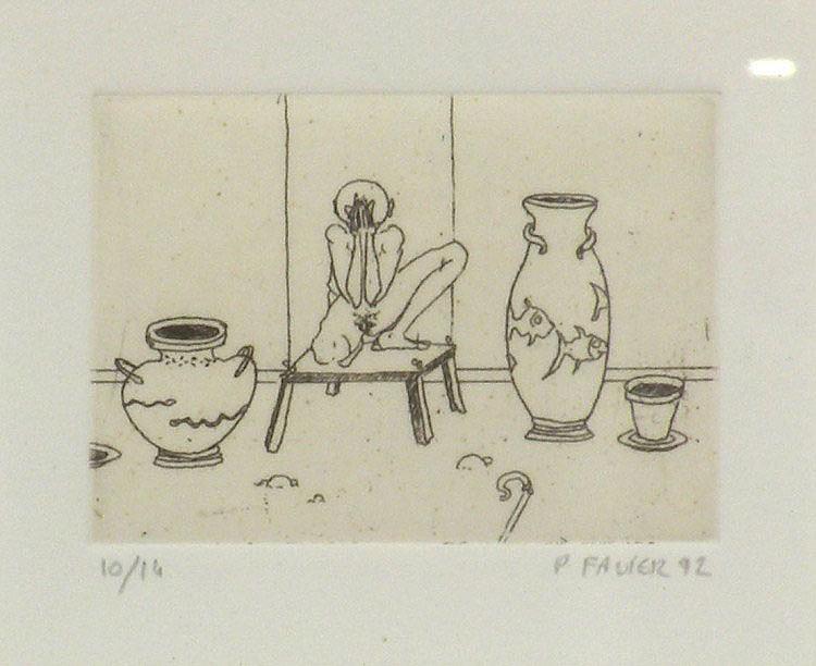 Philippe FAVIER (1957) Vases et nu. Gravure signée, datée 92 et numérotée 10/14.