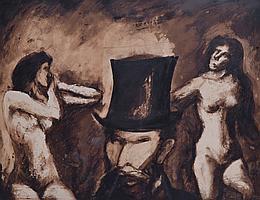 PONCET, XXe. Hommage à Manet. Portrait de femme. Lavis d'encre sur papier signé.