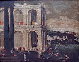 Ecole napolitaine, entourage de Didier BARRA, vers 1630. Place animée auprès d'u