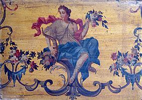Ecole française du XVIIIe Allégorie de l'Eté. Huile sur panneau. (Contrecollé su