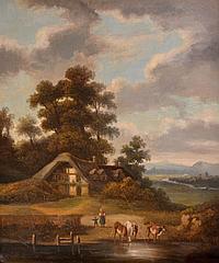 Ecole du XIXe. Vaches et enfants auprès de la chaumière. Toile. 65 x 54 cm